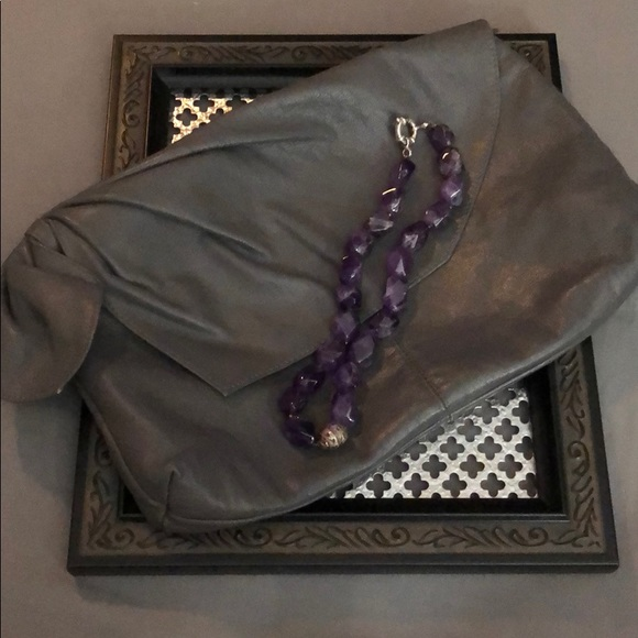 Nordstrom Jewelry - Amethyst necklace with silver hardware w/ pouch